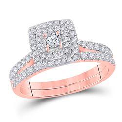 1/2 CTW Round Diamond Halo Bridal Wedding Ring 10kt Rose Gold - REF-47R6X