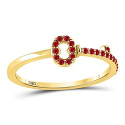 1/5 CTW Womens Round Ruby Key Stackable Band Ring 10kt Yellow Gold - REF-12F2W
