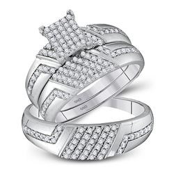 3/4 CTW His Hers Round Diamond Cluster Matching Wedding Set 10kt White Gold - REF-54W5H