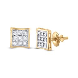 1/20 CTW Mens Round Diamond Square Earrings 10kt Yellow Gold - REF-8M9F