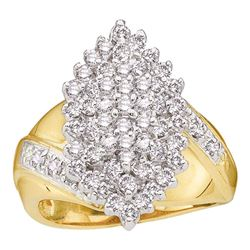 1 CTW Womens Round Diamond Marquise-shape Cluster Ring 10kt Yellow Gold - REF-71R6X