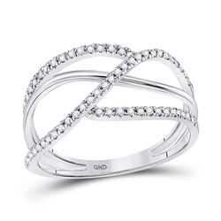 1/5 CTW Womens Round Diamond Open Strand Band Ring 10kt White Gold - REF-21X8T