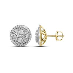 1 & 3/4 CTW Womens Round Diamond Framed Flower Cluster Earrings 14kt Yellow Gold - REF-163A5M