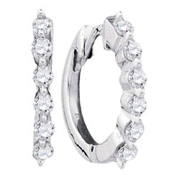 1/4 CTW Womens Round Pave-set Diamond Hoop Earrings 14kt White Gold - REF-25H9R