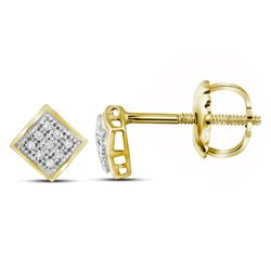 1/20 CTW Womens Round Diamond Square Earrings 10kt Yellow Gold - REF-8A9M