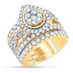 3 CTW Round Diamond Pear Bridal Wedding Ring 14kt Yellow Gold - REF-262F5W
