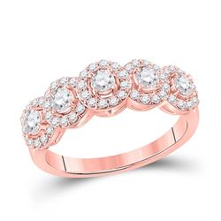 1 CTW Womens Round Diamond 5-Stone Anniversary Ring 14kt Rose Gold - REF-99X2T