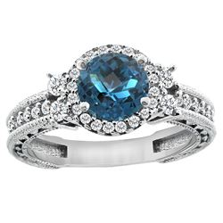 1.46 CTW London Blue Topaz & Diamond Ring 14K White Gold - REF-77X9M
