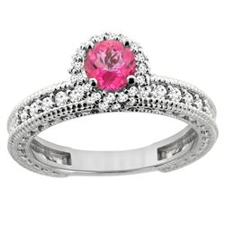 0.91 CTW Pink Topaz & Diamond Ring 14K White Gold - REF-65A9X
