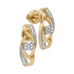 1/20 CTW Womens Round Diamond Vertical Flower Cluster Earrings 10kt Yellow Gold - REF-12W2H