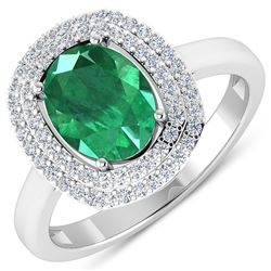 Natural 1.93 CTW Zambian Emerald & Diamond Ring 14K White Gold - REF-80T9H