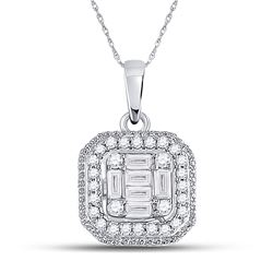 1/4 CTW Womens Baguette Diamond Fashion Cluster Pendant 14kt White Gold - REF-32X6T