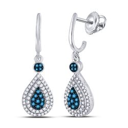 1/2 CTW Womens Round Blue Color Enhanced Diamond Teardrop Dangle Earrings 10kt White Gold - REF-31A4