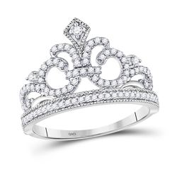 1/5 CTW Womens Round Diamond Fleur Crown Tiara Fashion Ring 10kt White Gold - REF-20H5R