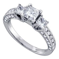 1 & 1/2 CTW Princess Diamond Princess Bridal Wedding Engagement Ring 14kt White Gold - REF-218N3A