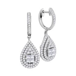 1 CTW Womens Princess Round Diamond Teardrop Frame Cluster Earrings 14kt White Gold - REF-102M3F