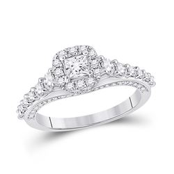 1 & 1/4 CTW Princess Diamond Halo Bridal Wedding Engagement Ring 14kt White Gold - REF-135X2T