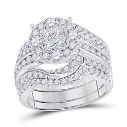 2 & 1/2 CTW Princess Diamond Bridal Wedding Ring 14kt White Gold - REF-248W7H