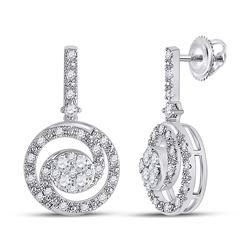 1/2 CTW Womens Round Diamond Fashion Swirl Dangle Earrings 14kt White Gold - REF-47H6R