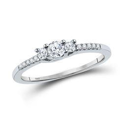 1/4 CTW Round Diamond 3-stone Bridal Wedding Engagement Ring 10kt White Gold - REF-28F2W