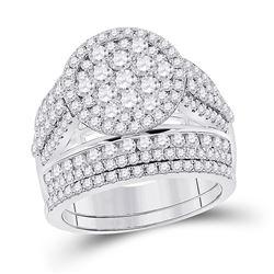 3 CTW Round Diamond Bridal Wedding Ring 14kt White Gold - REF-269V4Y