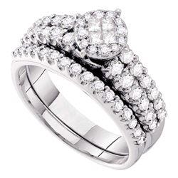 1 CTW Princess Diamond Bridal Wedding Ring 14kt White Gold - REF-109M2F