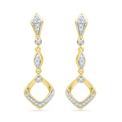 1/6 CTW Womens Round Diamond Offset Square Dangle Earrings 10kt Yellow Gold - REF-21Y8N