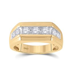 1 CTW Mens Round Diamond Flat Top Band Ring 10kt Yellow Gold - REF-85W3H