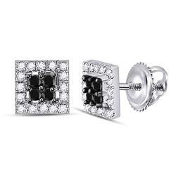 1/3 CTW Womens Round Black Color Enhanced Diamond Square Earrings 10kt White Gold - REF-15F2W