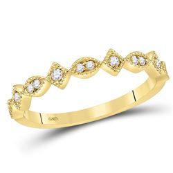 1/8 CTW Womens Round Diamond Geometric Stackable Band Ring 14kt Yellow Gold - REF-23N3A