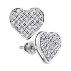 1/4 CTW Womens Round Diamond Heart Earrings 10kt White Gold - REF-22V5Y