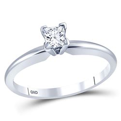 1/3 CTW Womens Princess Diamond Solitaire Bridal Wedding Engagement Ring 14kt White Gold - REF-49F3W