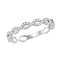 1/5 CTW Womens Round Diamond Twist Stackable Band Ring 10kt White Gold - REF-21W8H