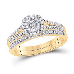 1/3 CTW Round Diamond Bridal Wedding Ring 10kt Yellow Gold - REF-47A7M