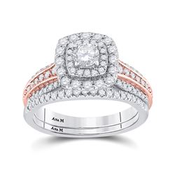 1 CTW Round Diamond Bridal Wedding Ring 14kt Two-tone Gold - REF-136X4T
