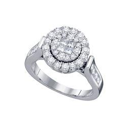 1 CTW Princess Round Diamond Bridal Wedding Engagement Ring 14kt White Gold - REF-124H6R