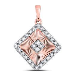 1/6 CTW Womens Round Diamond Diagonal Square Pendant 10kt Rose Gold - REF-17X6T
