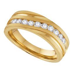 1/2 CTW Mens Round Diamond Wedding Band Ring 10kt Yellow Gold - REF-68A2M