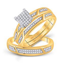 1/3 CTW His Hers Round Diamond Square Matching Wedding Set 10kt Yellow Gold - REF-44W4H
