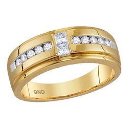 1/2 CTW Mens Princess Diamond Wedding 2-Stone Band Ring 10kt Yellow Gold - REF-61F4W