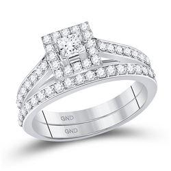 7/8 CTW Princess Diamond Bridal Wedding Ring Band Set 10kt White Gold - REF-80T5V