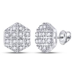 1/10 CTW Mens Round Diamond Hexagon Earrings 10kt Yellow Gold - REF-10T9V