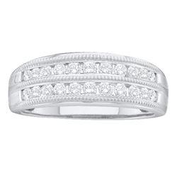 1/2 CTW Womens Round Diamond Double Row Fashion Ring 10kt White Gold - REF-38T2V