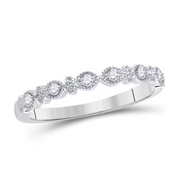 1/10 CTW Womens Round Diamond Milgrain Stackable Band Ring 14kt White Gold - REF-28W5H