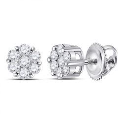 1/4 CTW Womens Round Diamond Flower Cluster Earrings 14kt White Gold - REF-25T3V