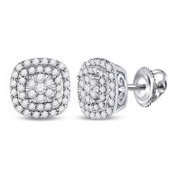 1/2 CTW Womens Round Diamond Cushion Halo Cluster Earrings 14kt Yellow Gold - REF-54T5V