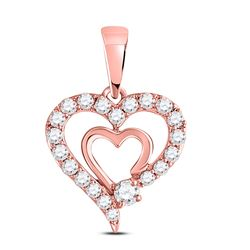 1/4 CTW Womens Round Diamond Double Heart Pendant 10kt Rose Gold - REF-19A2M