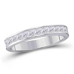 1/4 CTW Womens Princess Diamond Wedding Band Ring 14kt White Gold - REF-38N9A