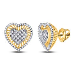 1/3 CTW Womens Round Diamond Heart Cluster Stud Earrings 10kt Yellow Gold - REF-27V3Y