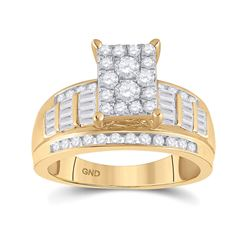 7/8 CTW Round Diamond Rectangle Cluster Bridal Wedding Engagement Ring 10kt Yellow Gold - REF-70Y3N